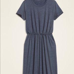 Waist defined slub knit midi t-shirt dress